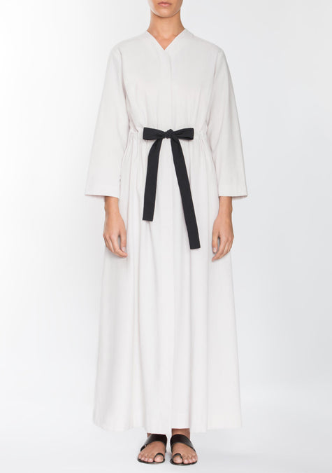 Dress - Front Tie Belted Cotton Dress - 1944854102085