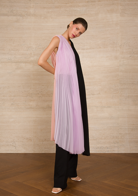 Top - Three-tone Pleated Long Chiffon Top - 4322651504709
