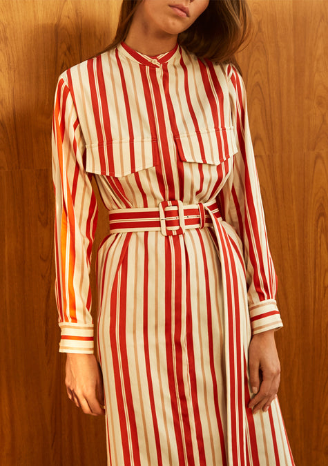 Dress - Striped Belted Shirt Dress - 4350646190149
