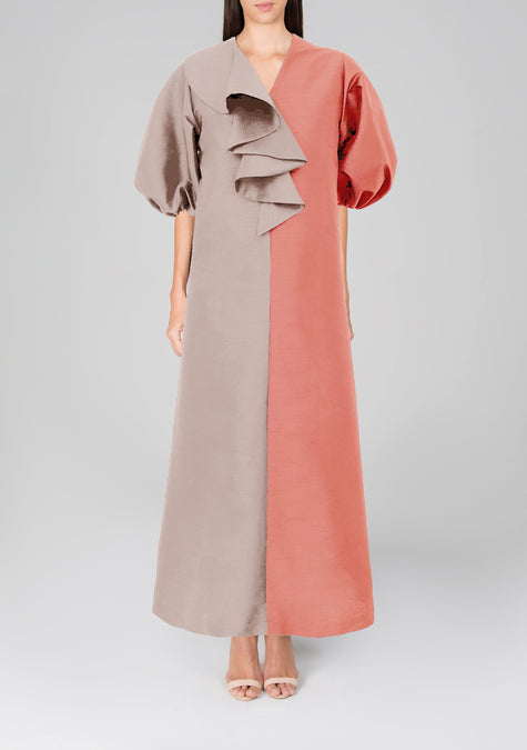 Dress - Two-tone Ruffle Collar Kaftan - 4402886934597