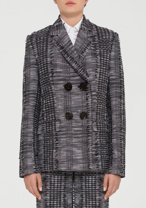 Jacket - Checkered Tweed Blazer - 11690069204
