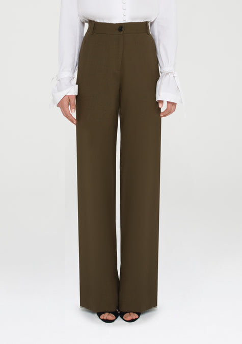 Pants - High Waisted Wool Crepe Pants - 11690398868