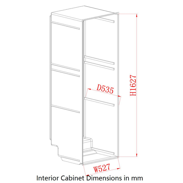 Interior Cabinet Dimensions in mm