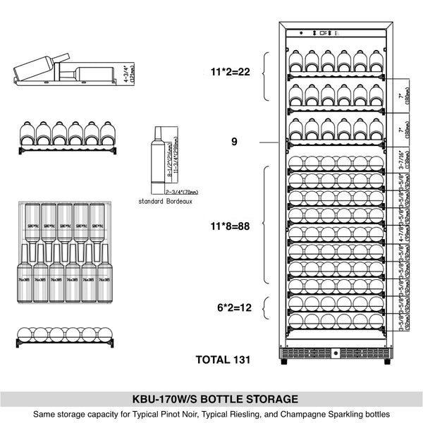 405L GLASS DOOR UPRIGHT WINE FRIDGE REFRIGERATOR | KB405WGS