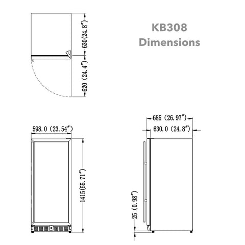 308 Litre Upright Glass Door Bar Fridge KB308BGS