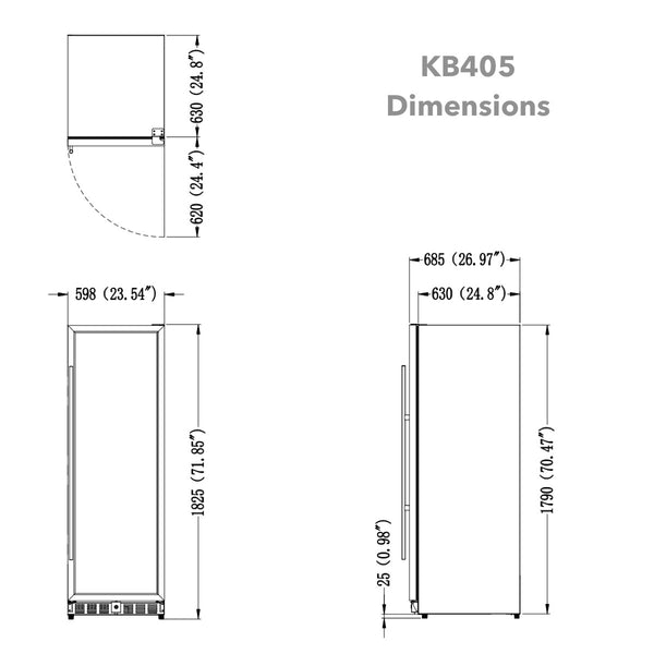 405 Litre Stainless Steel Solid Door Upright Bar Fridge | KB405B