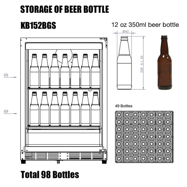 KB152BGS kingsbottle beverage cooler storage capacity of 12 oz beer bottles