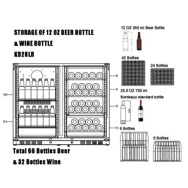 KB28LR kingsbottle wine&beverage cooler storage capacity of 12 oz beer bottles