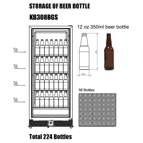 KB308BGS kingsbottle beverage cooler storage capacity of 12 oz beer bottles