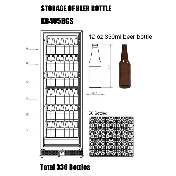 KB405BGS kingsbottle beverage cooler storage capacity of 12 oz beer bottles
