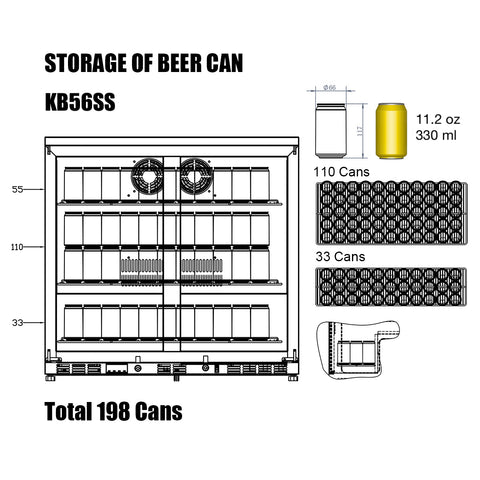 KB56SS kingsbottle beverage cooler storage capacity of 11.2 oz 330ml beer cans