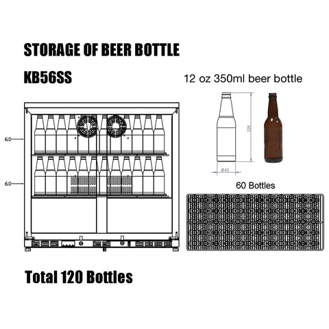 KB56SS kingsbottle beverage cooler storage capacity of 12 oz beer bottles