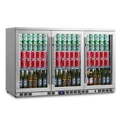 3-Door Under Bench Beverage Fridge, Heating Glass, Stainless Steel Exterior and Interior