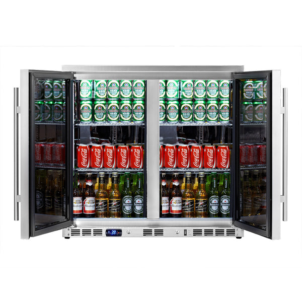 REFURBISHED Heating Glass 2-Door Full Stainless Under Bench Beverage Fridge, Indoor or Outdoor