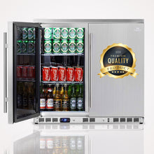 Load image into Gallery viewer, 2-Door Full Stainless Under Bench Beverage Fridge, Outdoor | KB56ASD