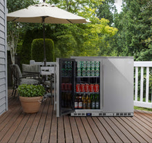 Load image into Gallery viewer, 2-Door Full Stainless Under Bench Beverage Fridge, Outdoor Refrigerator | kb56asd