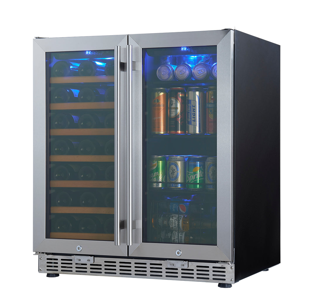 750mm Wide Underbench Low-E Glass Door Wine and Beer Fridge Combo