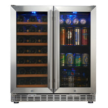 Load image into Gallery viewer, 750mm Wide Underbench Low-E Glass Door Wine and Beer Fridge Combo