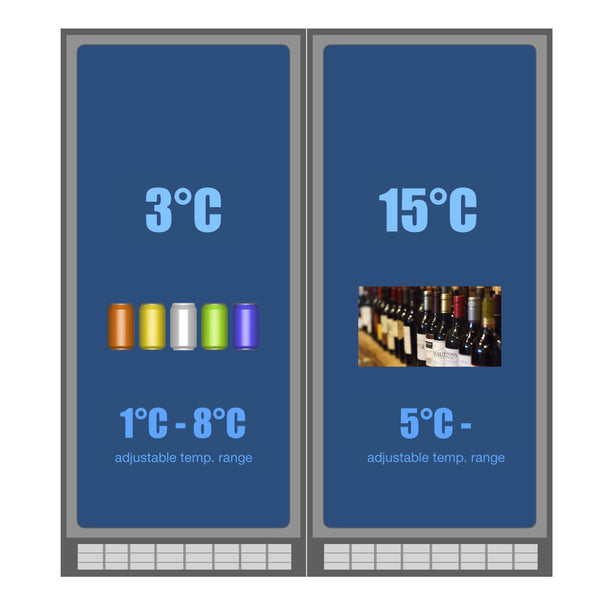 temperature adjustable range KB405BW2 wine and beer bar fridge combo
