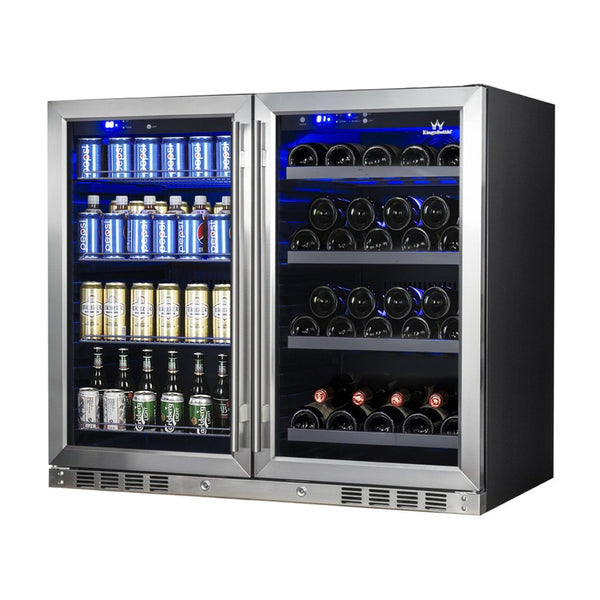 Under Bench Beer and Wine Fridge Combo KB28LR