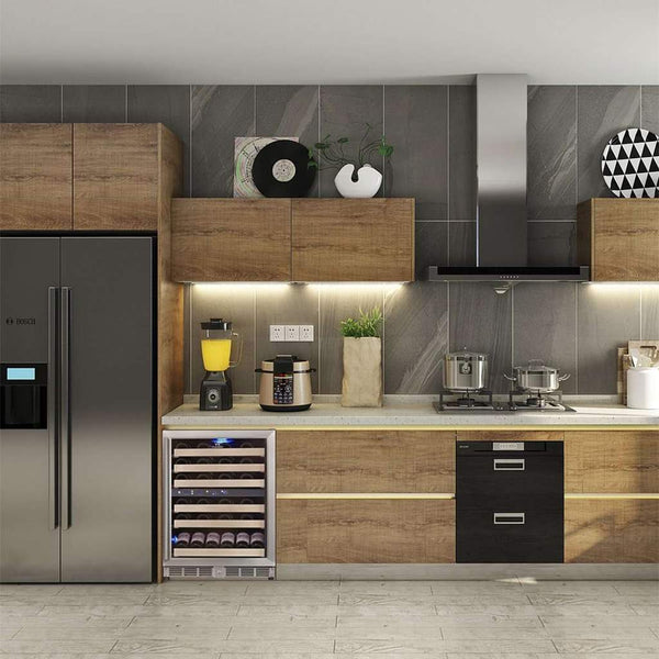 dual zone under counter built in wine fridges with glass door kingsbottle Sydney wine refrigerator kb152dss lifestyle