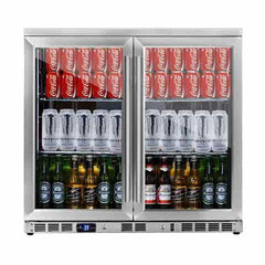 2-Door Full Stainless Under Bench Beverage Fridge, Heating Glass KB56SS