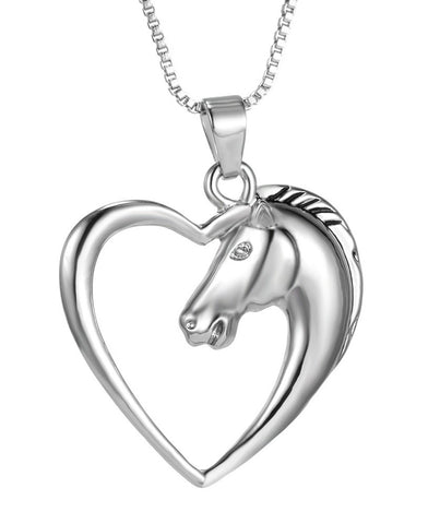 Platinum Plated Horse Necklace