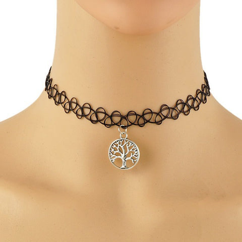 Black Tattoo Choker w/Tree Pendant