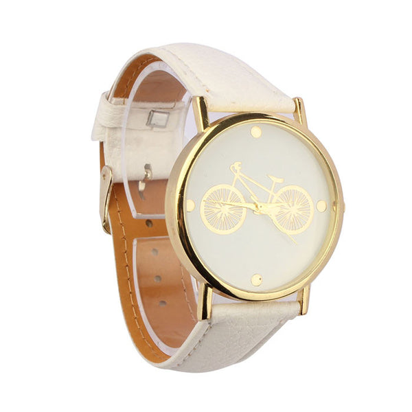 BTR® Leather 18K Gold Rim Bicycle Watch