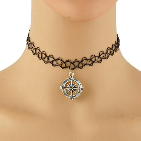 Black Tattoo Choker w/Compass Pendant