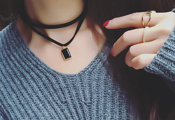 Leather Rectangle Crystal Choker(s)