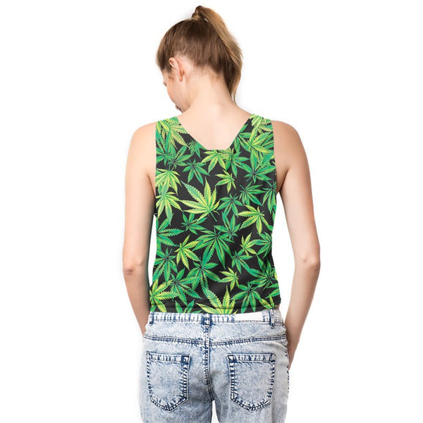 Marijuana Leaf Covered Tank-Top