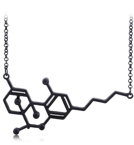 Black Gold THC Molecule Necklace [Free Shipping]
