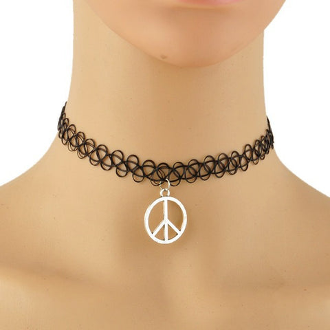Black Tattoo Choker w/Peace Pendant