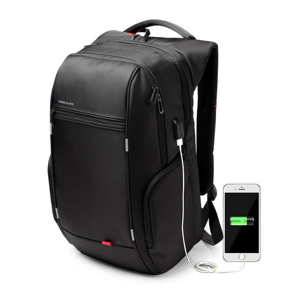 KINGSONS Leather Anti-Theft Waterproof Travel Backpack