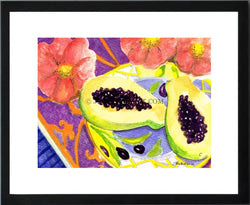 Papaya and Flowers Print (12x16)