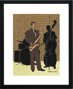 Jazz Band Saxophone (12x16 Print)
