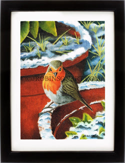 Bird in Winter Snow Print (12x16)