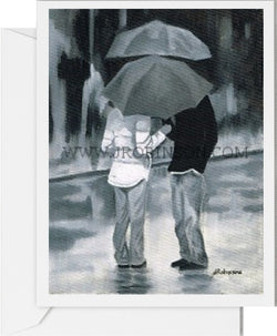 Couple in the Rain Card