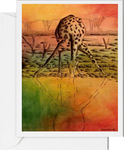 Giraffe Drinking Card
