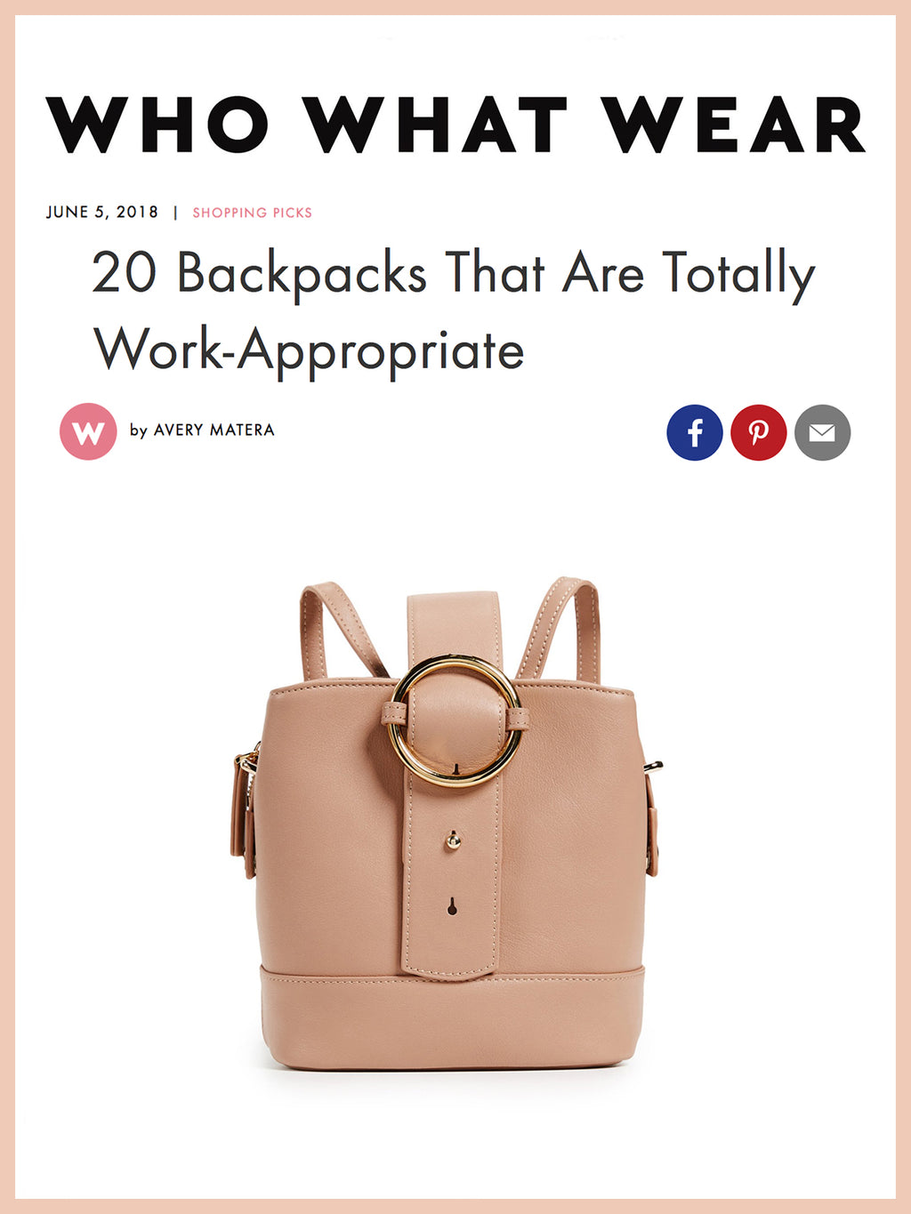 WHO WHAT WEAR, 20 Backpacks That Are Totally Work-Appropriate