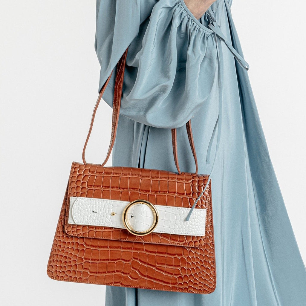 Allured Medium Shoulder Bag in Camel Cream | Parisa Wang | Featured