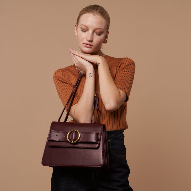 Allured Medium Shoulder Bag in Burgundy | Parisa Wang | Featured