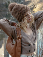 Knitted Mink Hat in Brown | Parisa Wang