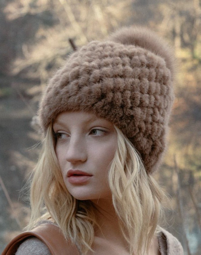 Knitted Mink Hat in Brown | Parisa Wang | Featured
