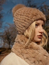 Knitted Mink Hat in Sand | Parisa Wang