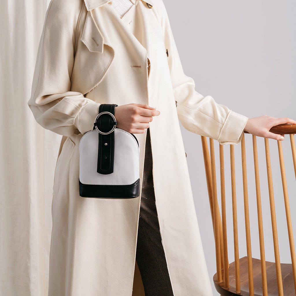Addicted Brogue Bracelet Bag in Black Cream | Parisa Wang | Featured
