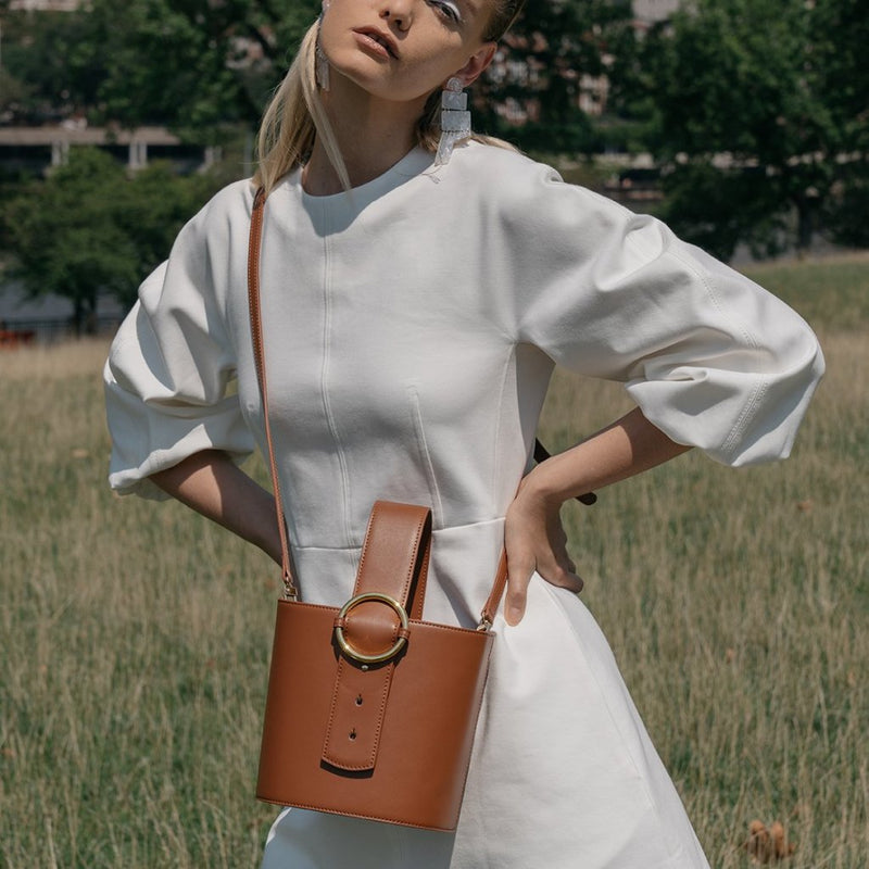 Allured Bucket Bag in Brown | Parisa Wang | Featured