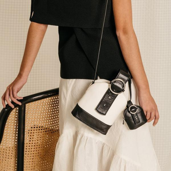 Addicted Canvas Bracelet Bag in Black Cream| Parisa Wang | Featured