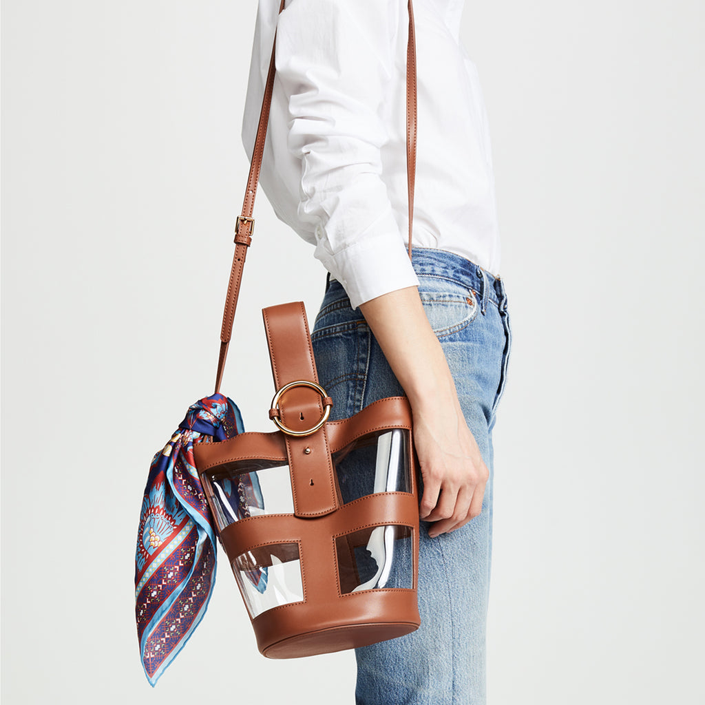 Addicted PVC Bucket Bag in Brown | Parisa Wang | Featured